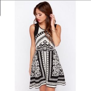 Lush Black and Ivory Print Sweater Dress